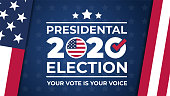 istock Election day. Vote 2020 in USA, banner design. Usa debate of president voting 2020. Election voting poster. Political election campaign 1256467928