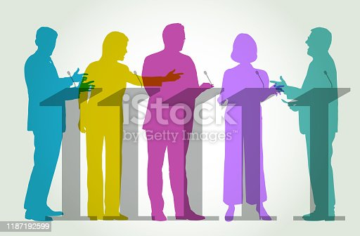 Colourful overlapping silhouettes of politicians during a TV Election Debate
