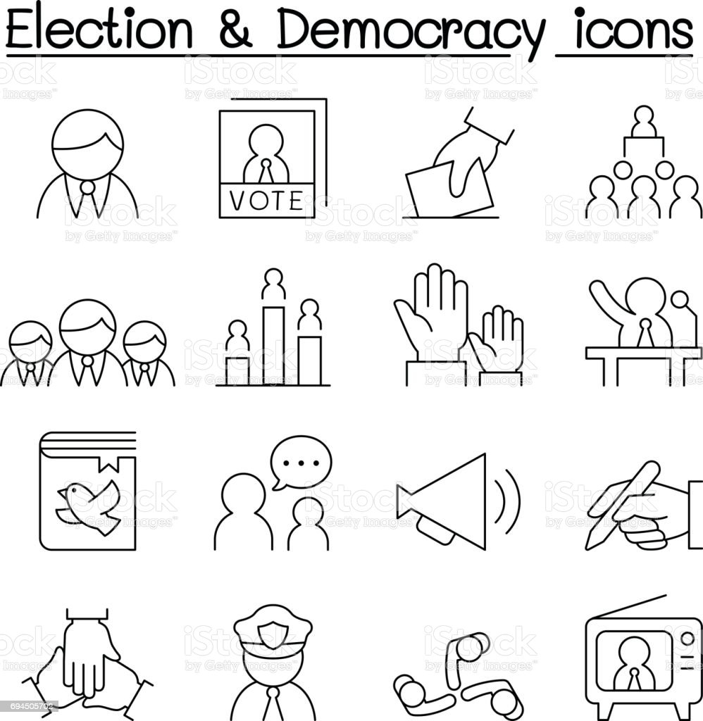 Election & Democracy icon set in thin line style vector art illustration
