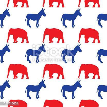Election Donkey And Elephant Seamless Pattern