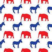 Vector seamless pattern of blue donkeys and red elephants on a white square background.