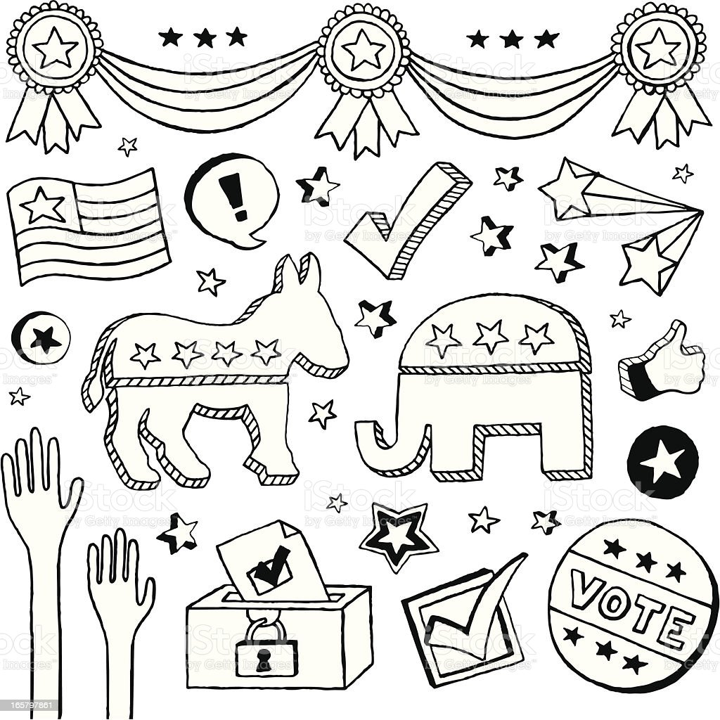 Election Doodles royalty-free stock vector art