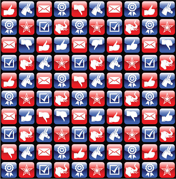 USA election glossy icons pattern USA election glossy icons seamless pattern party conference stock illustrations