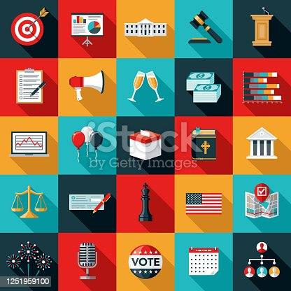 A set of US election icons. File is built in the CMYK color space for optimal printing. Color swatches are global so it's easy to edit and change the colors.
