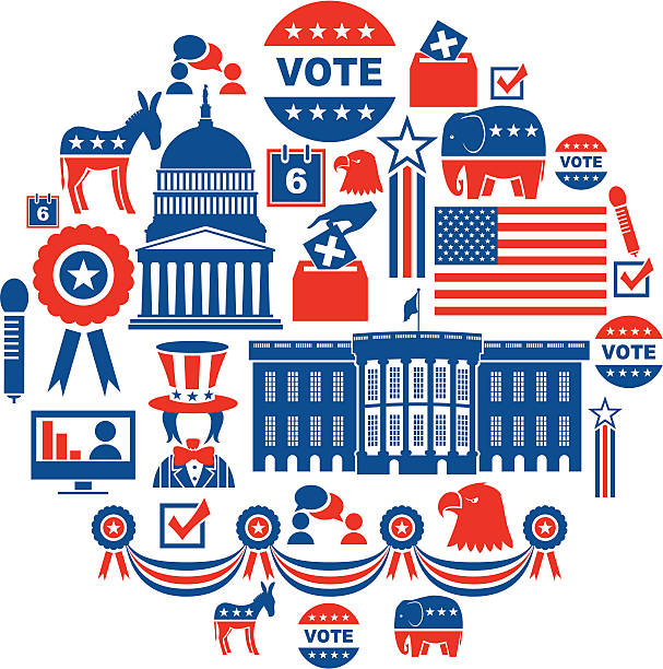 сша выборы значки set - white house stock illustrations