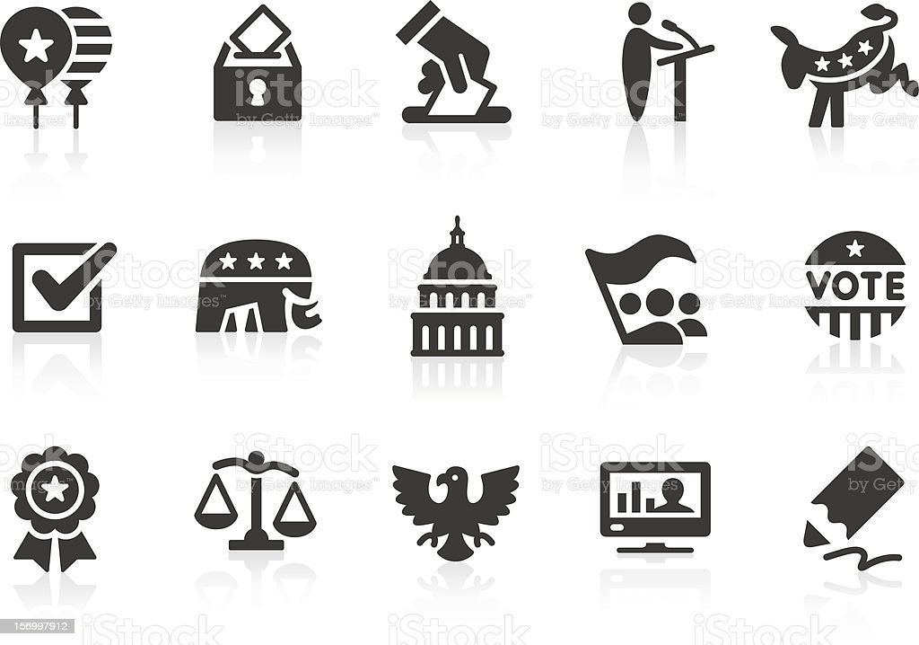Election icons 1 Simple election and politics related vector icons for your design and application. Files included: vector EPS, JPG, PNG. American Culture stock vector