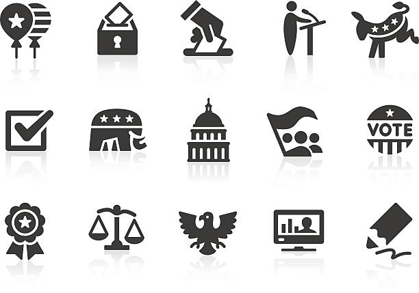 election icons 1 - siyaset stock illustrations