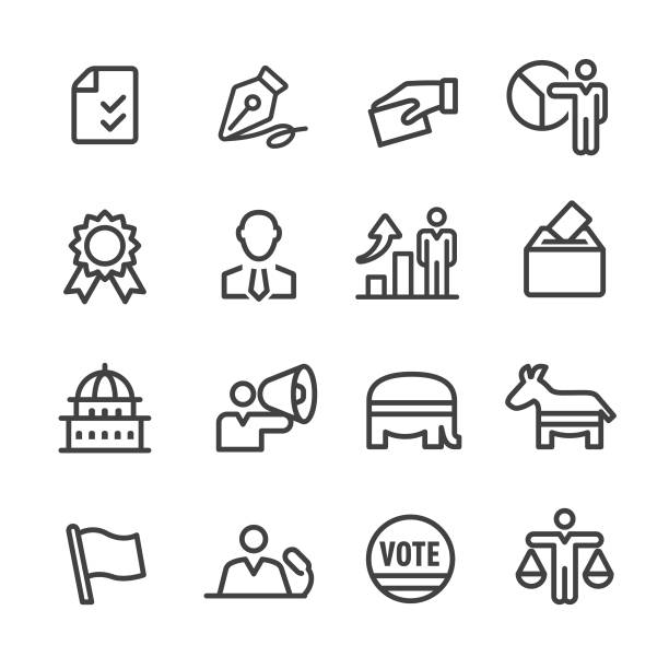 Election Icons - Line Series Election, Politics, party conference stock illustrations