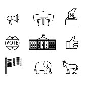 Set of political icons in a simple, monoline style.