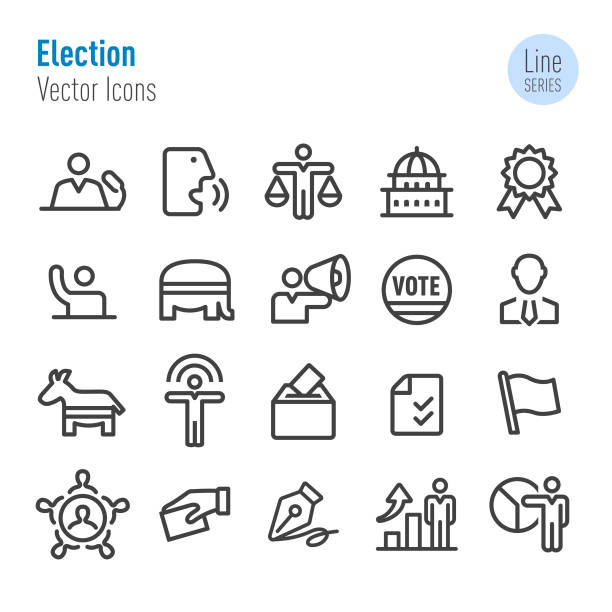 Election Icons - Vector Line Series Election, politics, party conference stock illustrations