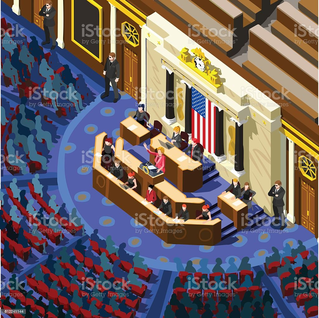 Election Infographic Congress Hall Us Vector Isometric People Stock Vector  Art & More Images of Adult