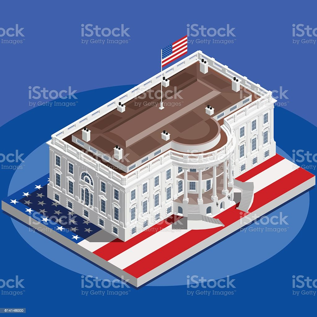 Election Infographic White House Us Vector Isometric Building - White house on us map