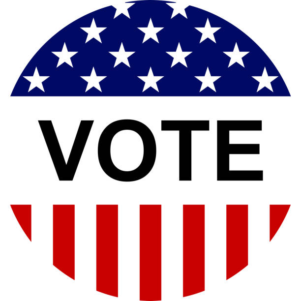 USA election label background, for pin, badge, election campaign button. USA election campaign button, with text and USA flag elements. voting stock illustrations