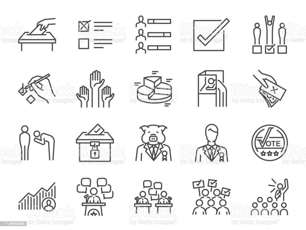 Seçim çizgi Icon set. Oy, kampanya, adaylar, oy, Elekt ve daha fazla dahil simgelerle. - Royalty-free Aday - Sosyal rolü Vector Art