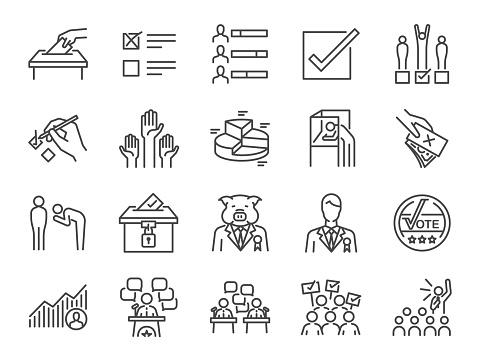 Seçim Çizgi Icon Set Oy Kampanya Adaylar Oy Elekt Ve Daha Fazla Dahil Simgelerle Stok Vektör Sanatı & Aday - Sosyal rolü'nin Daha Fazla Görseli