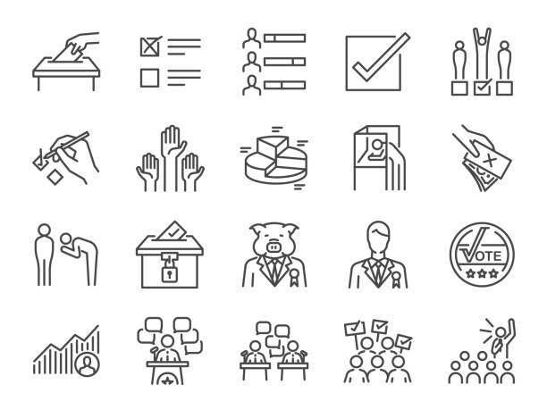 Election line icon set. Included icons as vote, campaign, candidates, ballot, elect and more. Election line icon set. Included icons as vote, campaign, candidates, ballot, elect and more. counting stock illustrations