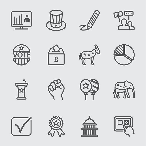 Election line icon vector art illustration