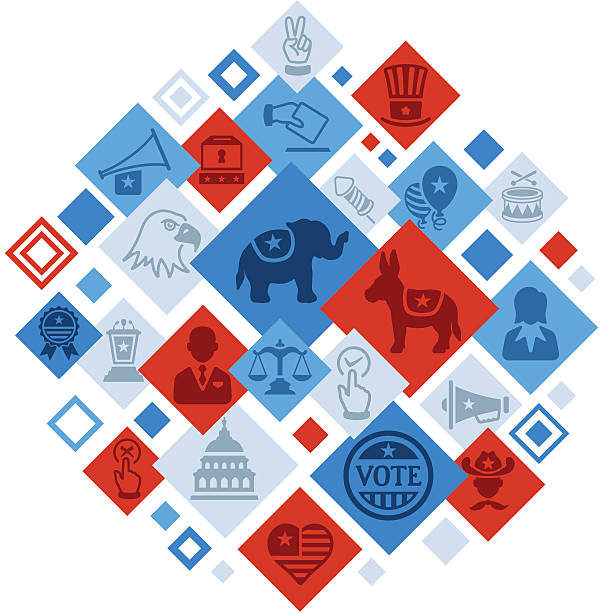usa election montage - presidential debate stock illustrations