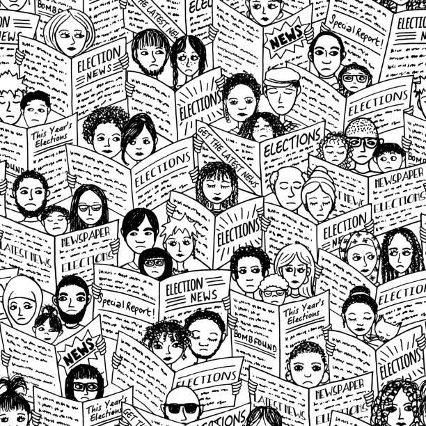 ilustrações de stock, clip art, desenhos animados e ícones de election news! seamless pattern - deceção