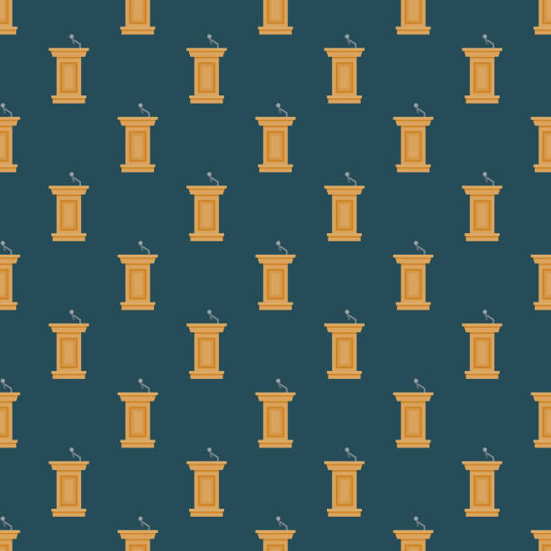 Election Podium Seamless Pattern A seamless pattern created from a single flat design icon, which can be tiled on all sides. File is built in the CMYK color space for optimal printing and can easily be converted to RGB. No gradients or transparencies used, the shapes have been placed into a clipping mask. presidential candidate stock illustrations
