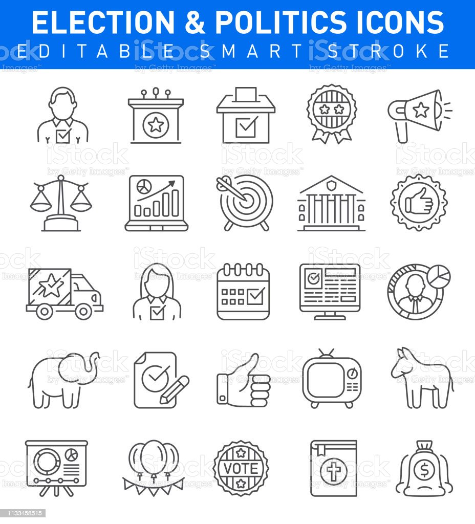 Editable stroke Election icons with candidate, bible,president,...