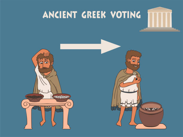 wahlprozess in uralter greece-karikatur - paphos stock-grafiken, -clipart, -cartoons und -symbole
