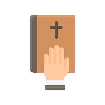 election related christian cross sign on book with hand vector in flat style,