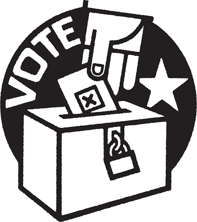 Election themed Illustration with hand of person putting vote into ballot box
