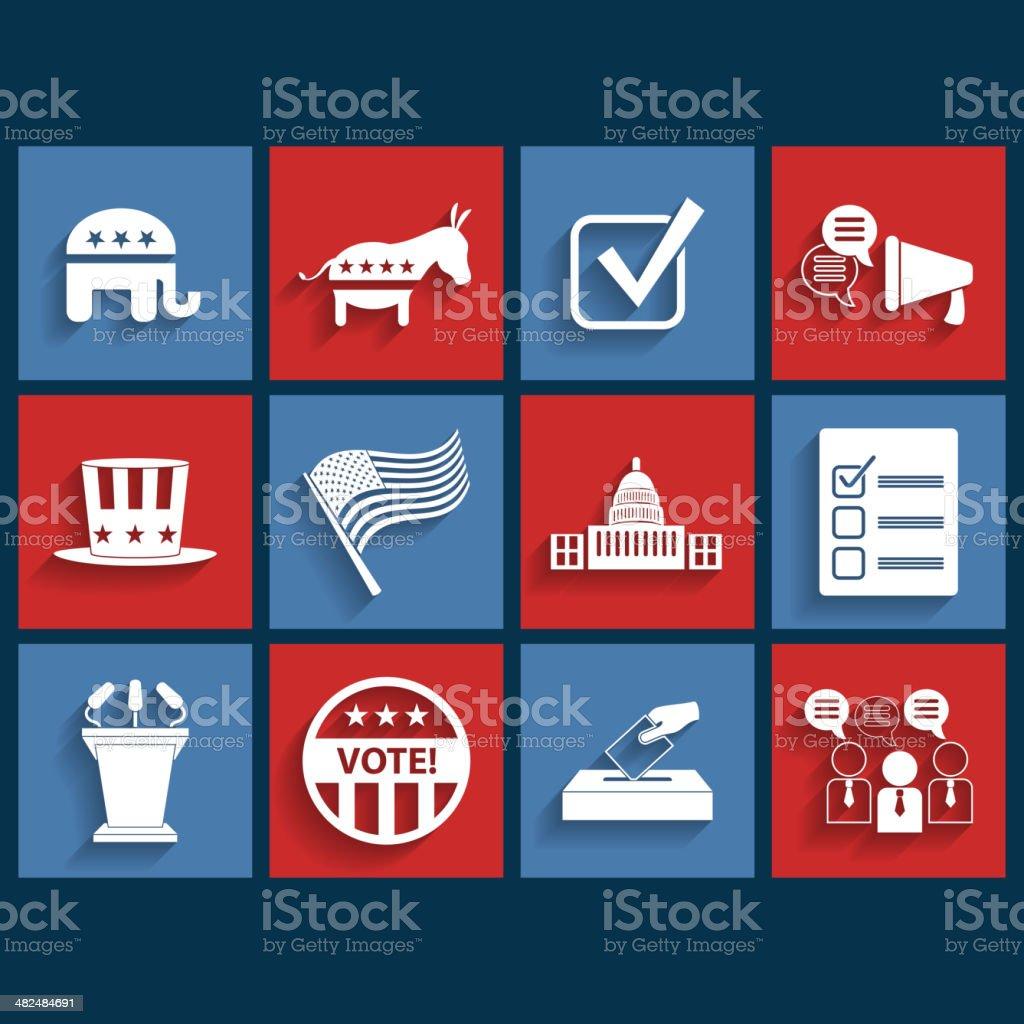Election vector retro flat icons vector art illustration