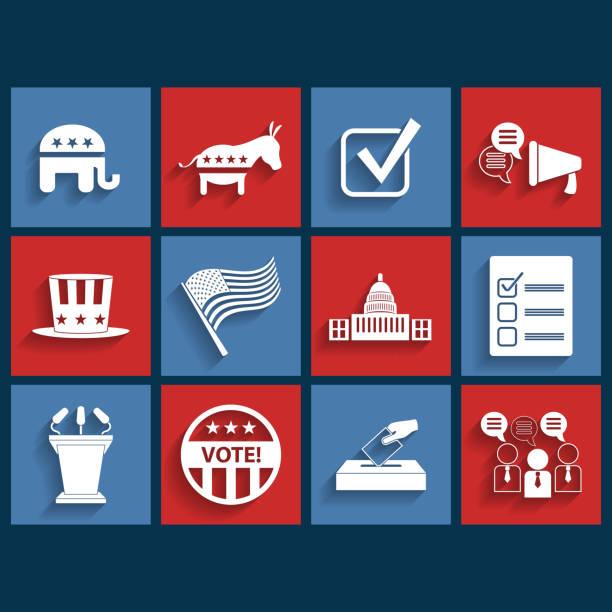 выборы вектор ретро значки на плоской подошве - presidential debate stock illustrations