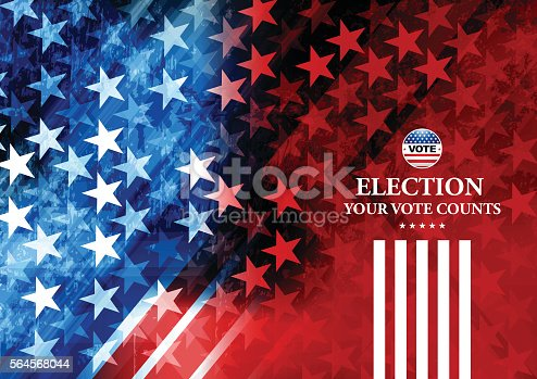 Vector of USA Election Vote Button with blue and red star shape background. EPS ai 10 file format.