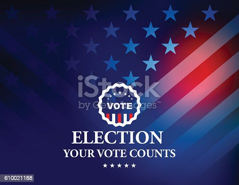Vector of USA Election Vote Button with blue and red Stars & Stripes background. EPS ai 10 file format.