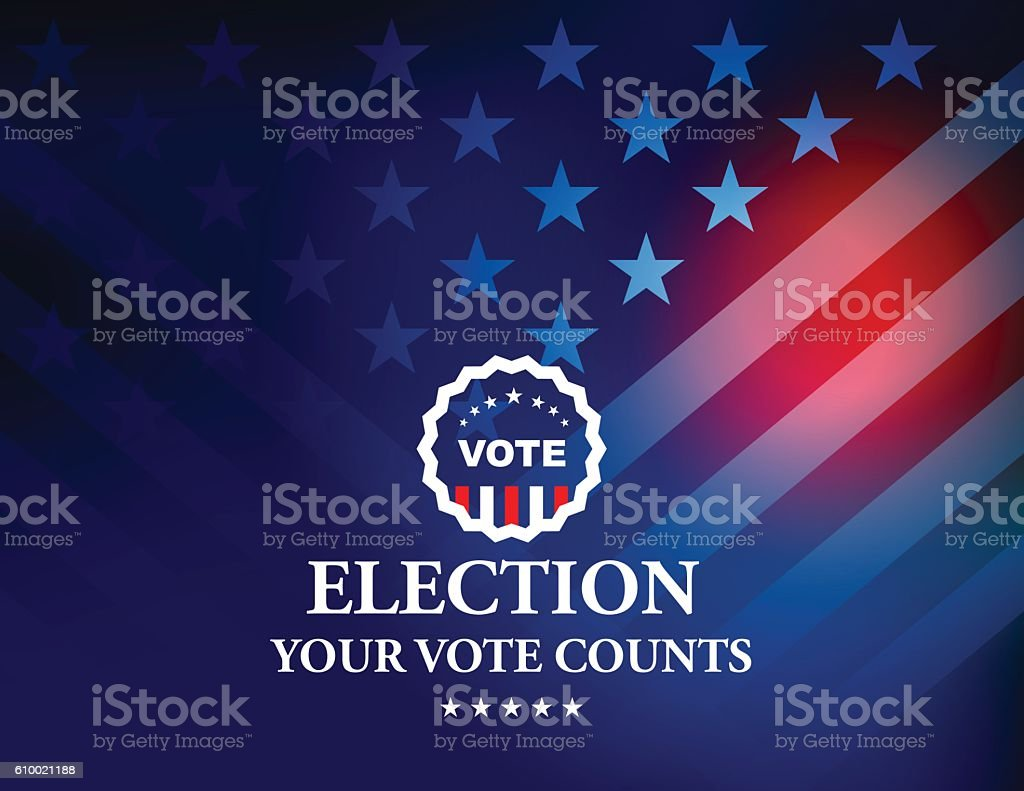 USA Election Vote Button with Stars and Stripes background - ilustración de arte vectorial
