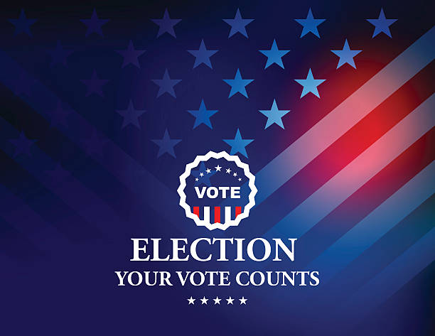 usa election vote button with stars and stripes background - american flag background stock illustrations