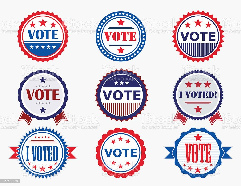 Election Voting Stickers and Badges vector art illustration