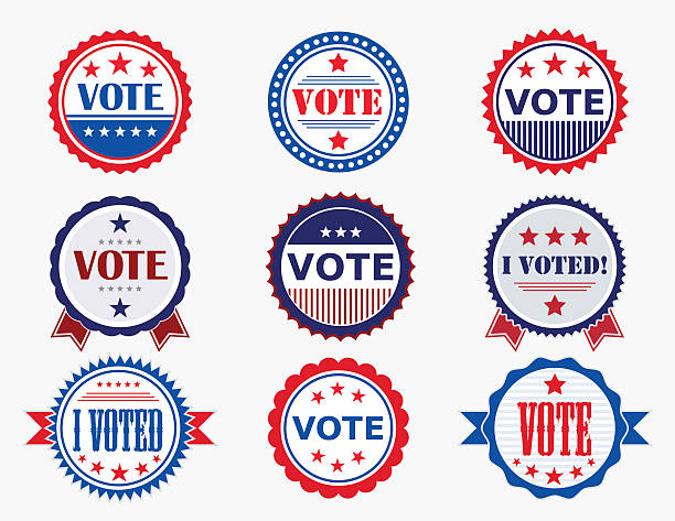 election voting stickers and badges - başkanlık seçimleri stock illustrations