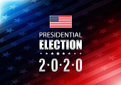 istock 2020 USA Election with stars and stripes background 1221946601