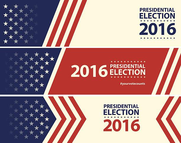 ilustraciones, imágenes clip art, dibujos animados e iconos de stock de usa election with stars and stripes banner background - election