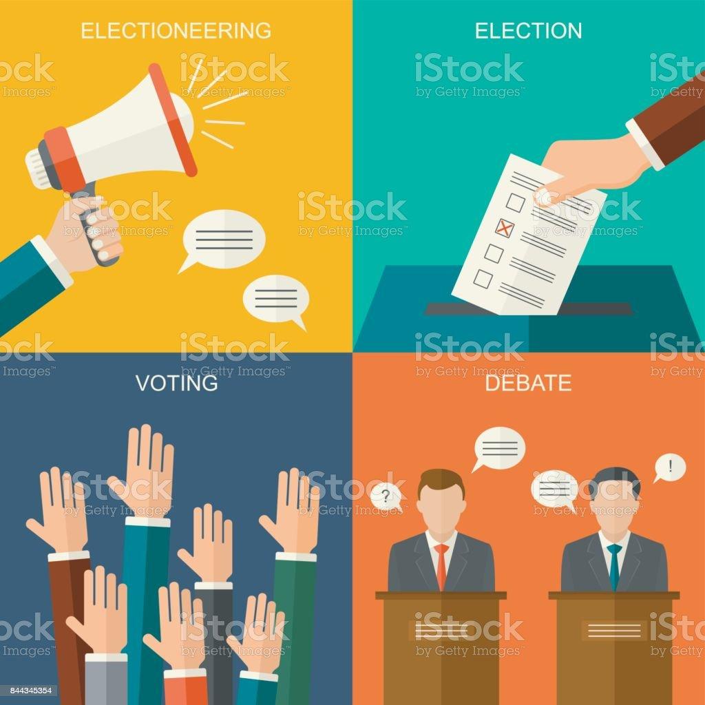 Wahlen und Abstimmungen Konzept Vektor flachen Stil Hintergrund. Illustration für Wahlkampf-Flyer, Broschüren und Websites. - Lizenzfrei Debatte Vektorgrafik