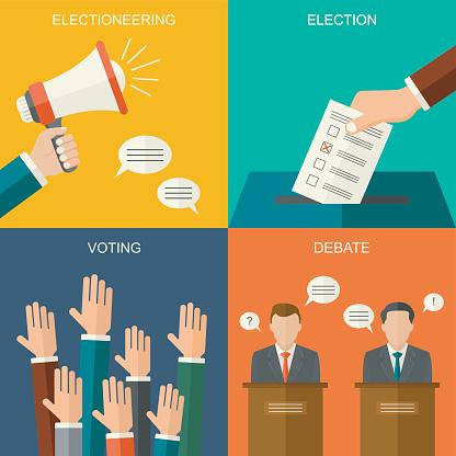 Wahlen Und Abstimmungen Konzept Vektor Flachen Stil Hintergrund Illustration Für Wahlkampfflyer Broschüren Und Websites Stock Vektor Art und mehr Bilder von Debatte