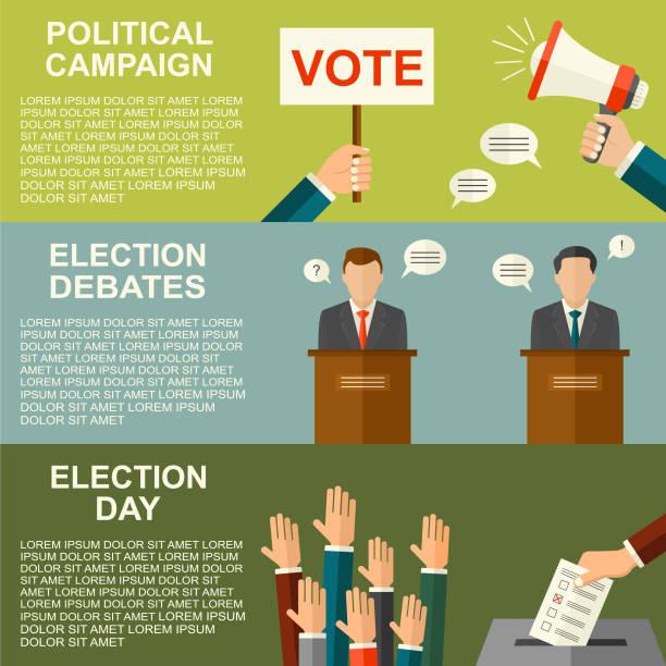 Wahlen und Abstimmungen Konzept Vektor flachen Stil Hintergrund. Illustration für Wahlkampf-Flyer, Broschüren und Websites. – Vektorgrafik