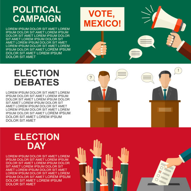 Elections and voting in Mexico concept vector flat style background. Illustration for Mexican political campaign flyer, leaflets and websites. vector art illustration