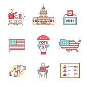 Elections, campaign and voting signs set