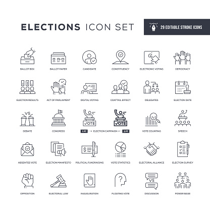 29 Elections Icons - Editable Stroke - Easy to edit and customize - You can easily customize the stroke with