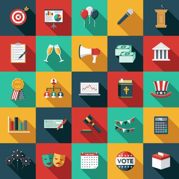 選舉平面設計圖示集側面陰影 - 政治 幅插畫檔、美工圖案、卡通及圖標
