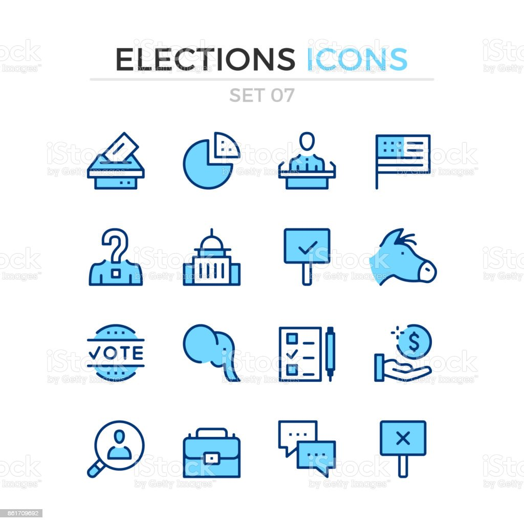 Elections icons. Vector line icons set. Premium quality. Simple thin line design. Stroke, linear style. Modern outline symbols, pictograms vector art illustration