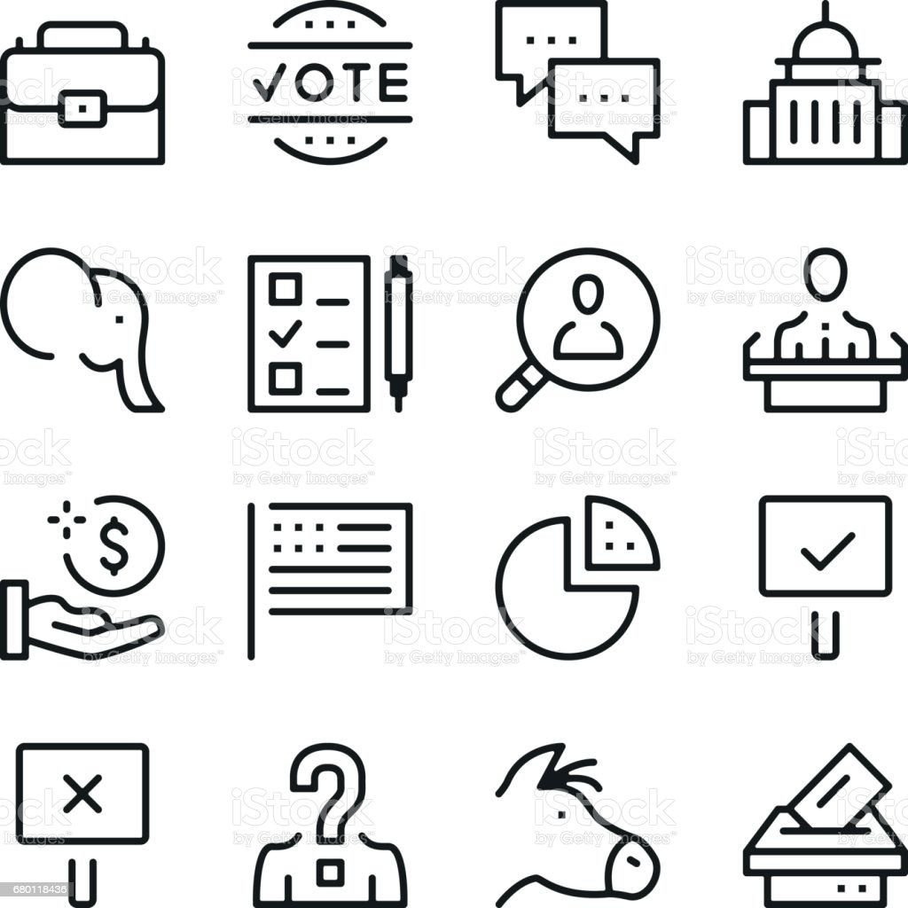 Elections line icons set. Modern graphic design concepts, simple outline elements collection. Vector line icons vector art illustration