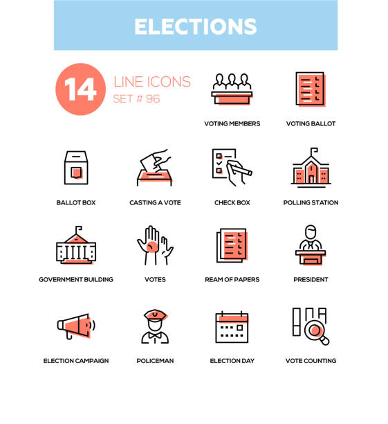 Elections - modern line design icons set Elections - modern line design icons set. Voting members, ballot, check box, casting a vote, polling station, government building, ream of papers, president, campaign, policeman, day, counting voting stock illustrations