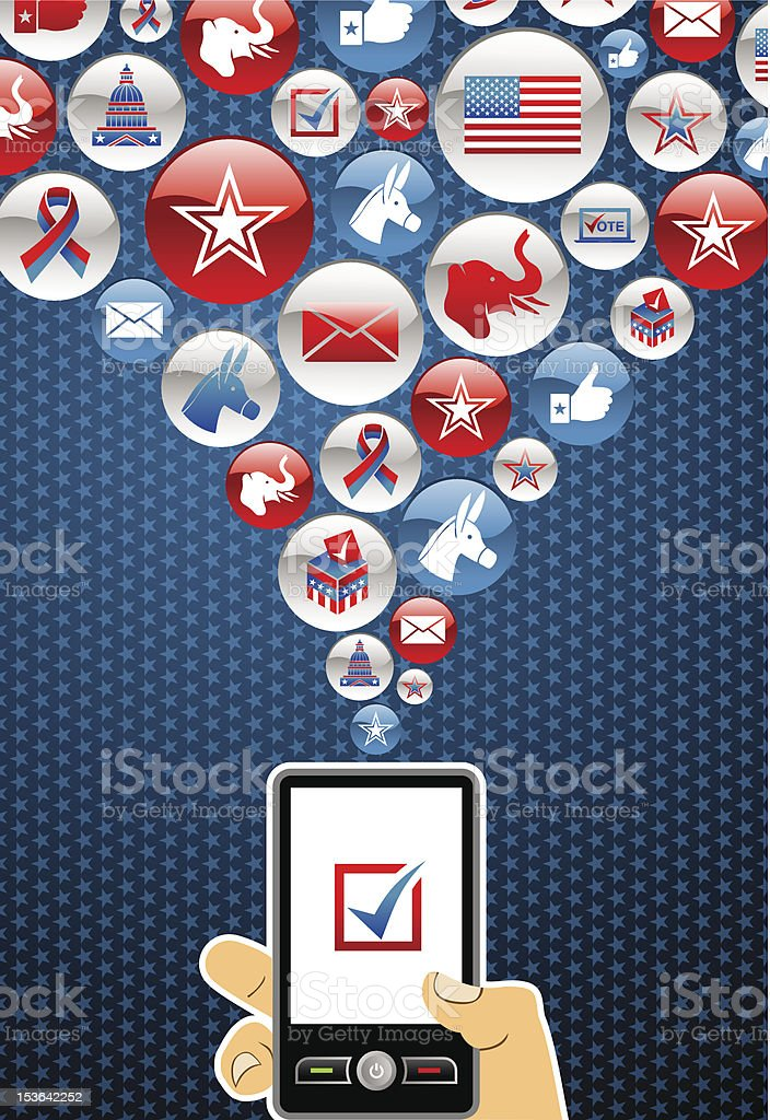 USA elections online voting vector art illustration
