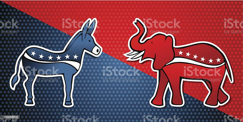 USA elections parties symbols royalty-free stock vector art